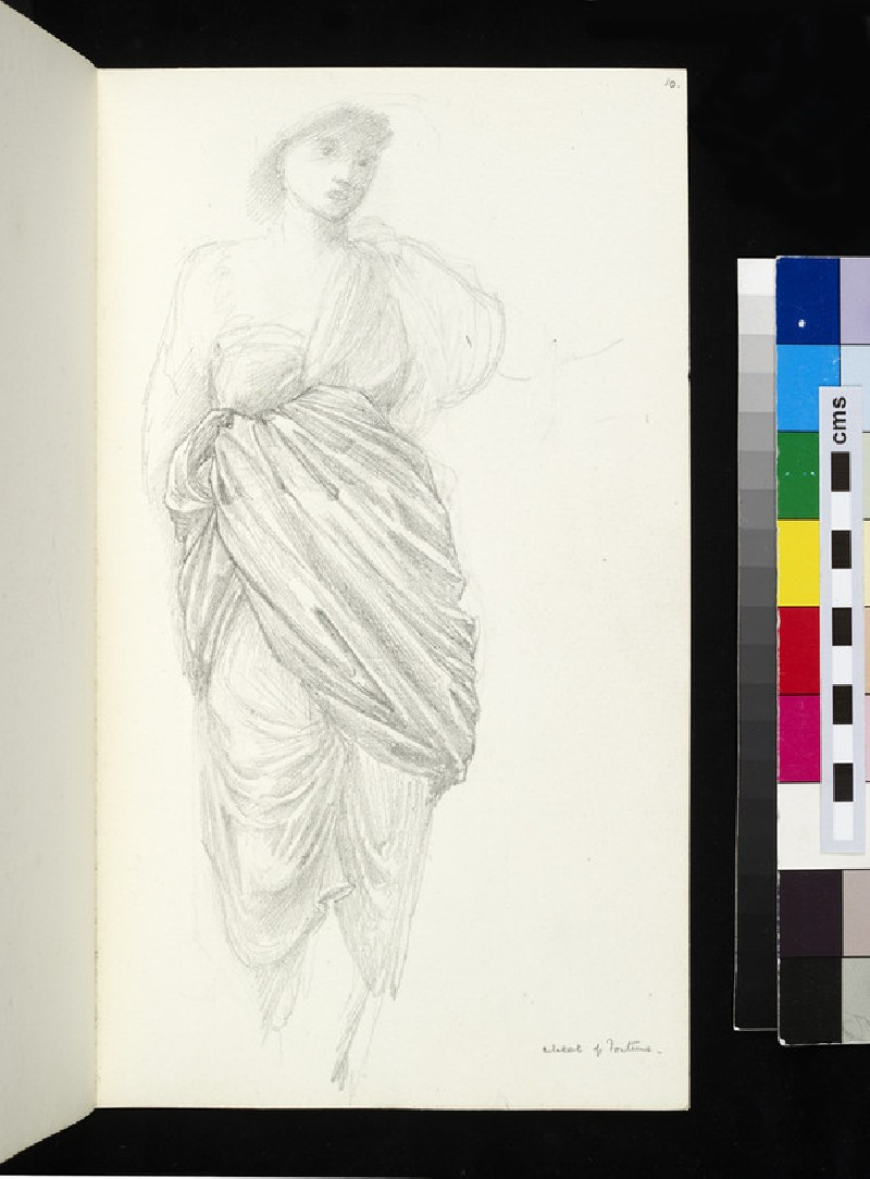 Recto: study for the figure of Fortune in 'The Wheel of Fortune' <br />Verso: drapery study for the figure of Fortune in 'The Wheel of Fortune'