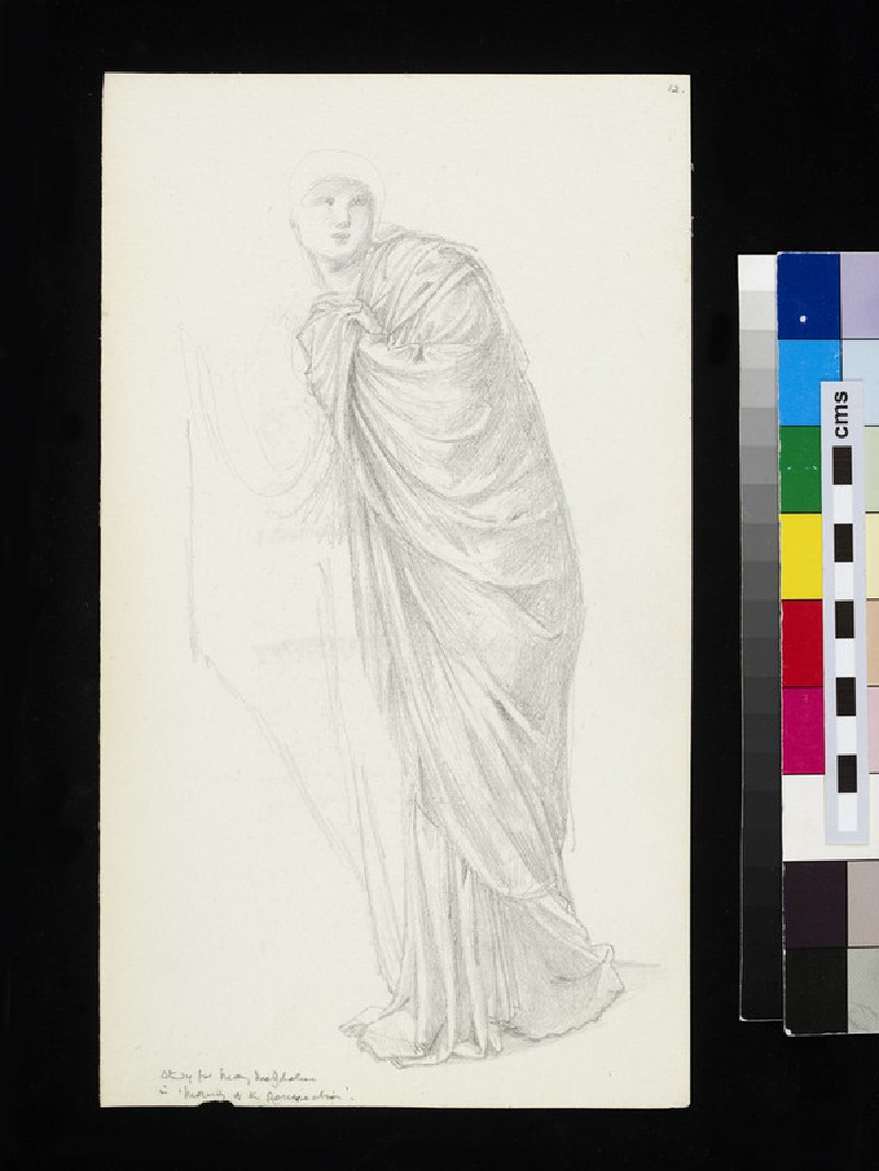 Recto: study for the figure of Mary Magdalene in 'The Morning of Resurrection' <br />Verso: study for the figure of Fortune in 'The Wheel of Fortune' seen in profile