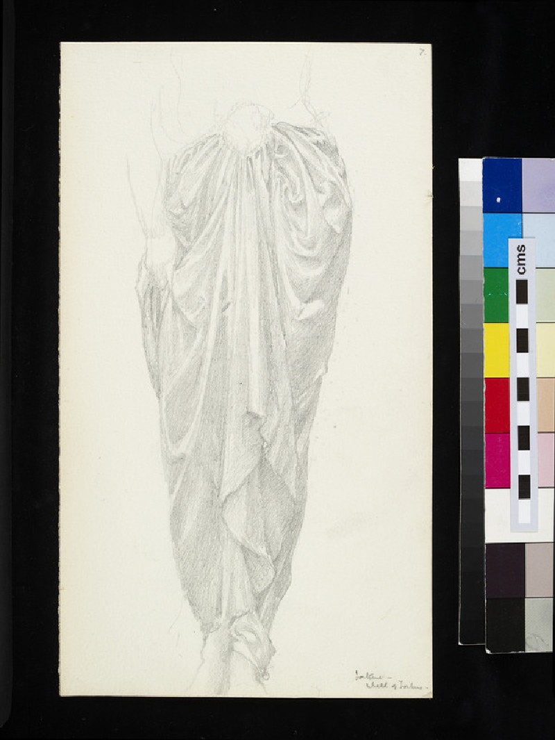 Recto: drapery study for the figure of Fortune in 'The Wheel of Fortune' <br />Verso: drapery study for the figure of Fortune in 'The Wheel of Fortune'