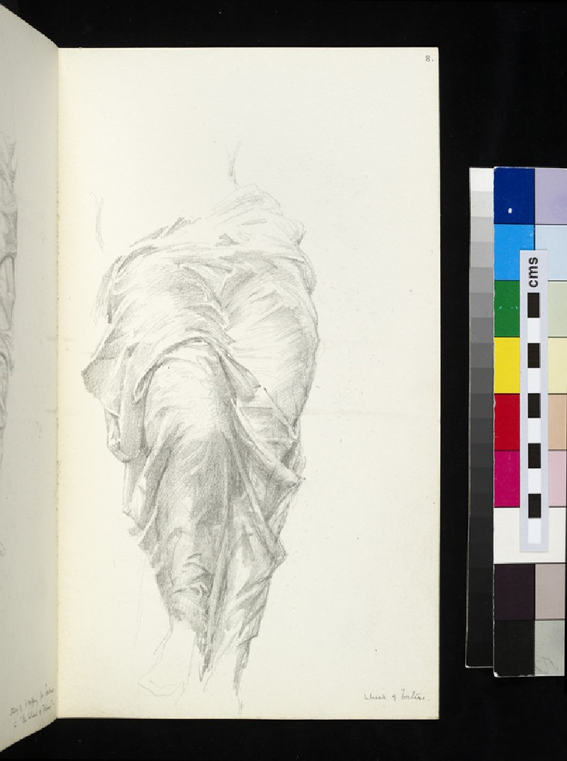 Recto: drapery study for the figure of Fortune in 'The Wheel of Fortune' <br />Verso: drapery study for the figure of Fortune in 'The Wheel of Fortune' (WA1920.55.8)