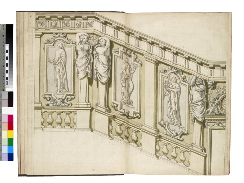 Design for a Stairwell with Pilasters, Paired Caryatids, and three female allegorical Figures in Panels