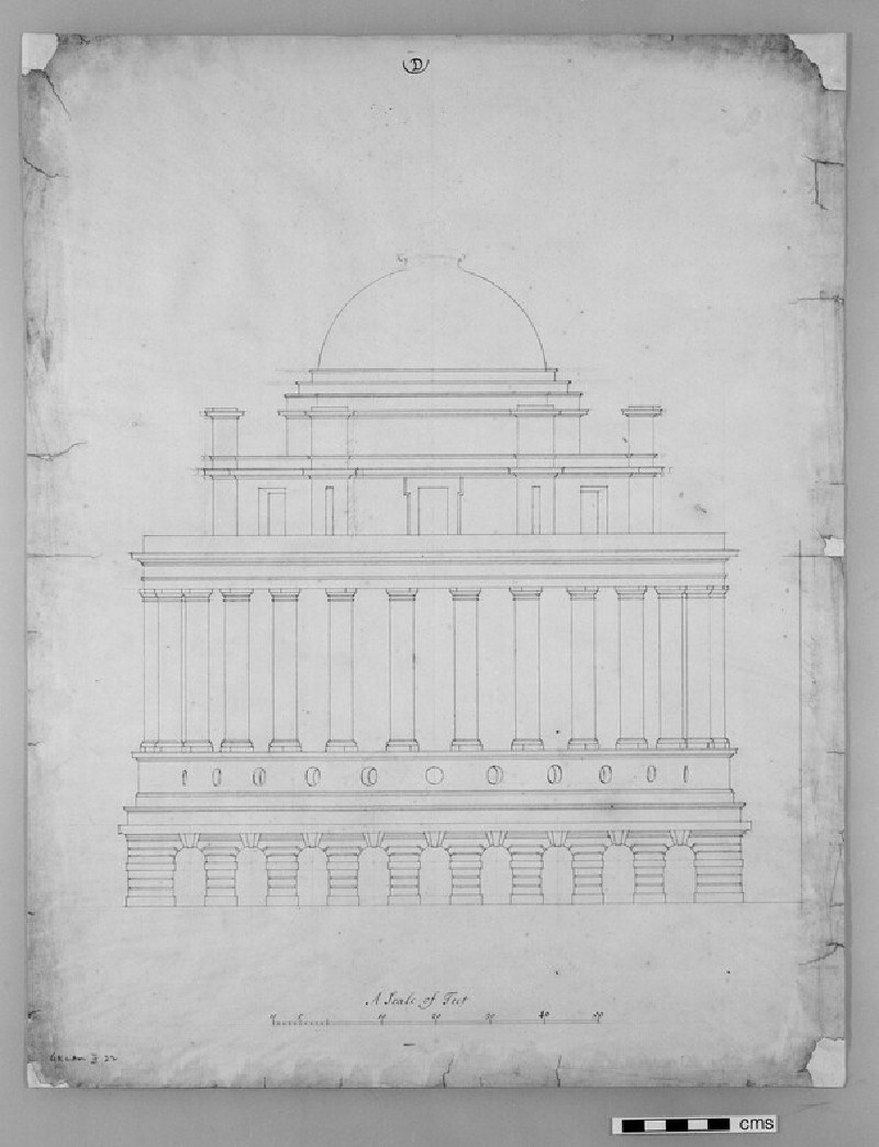 Design for the Radcliffe Library: elevation of a circular building on a square base, attached to the south side of the Schools Quadrangle (WA1925.319)