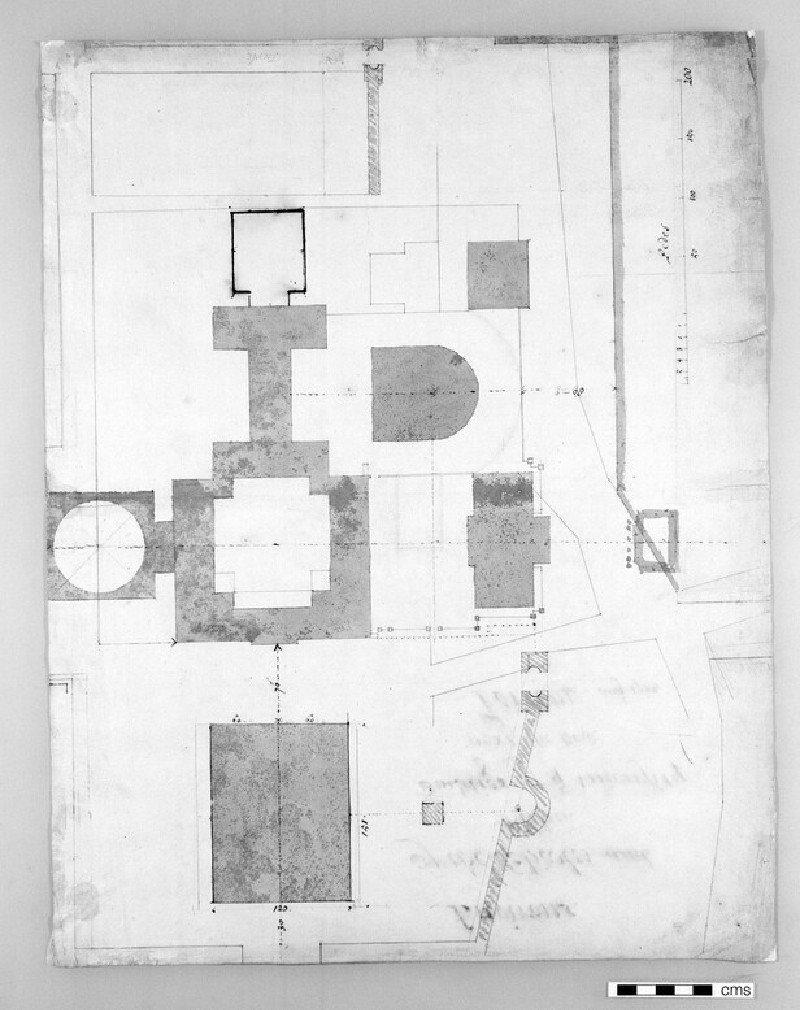 Design for the Radcliffe Library: ground-floor plan for a circular building on a square base, showing position of the surrounding buildings