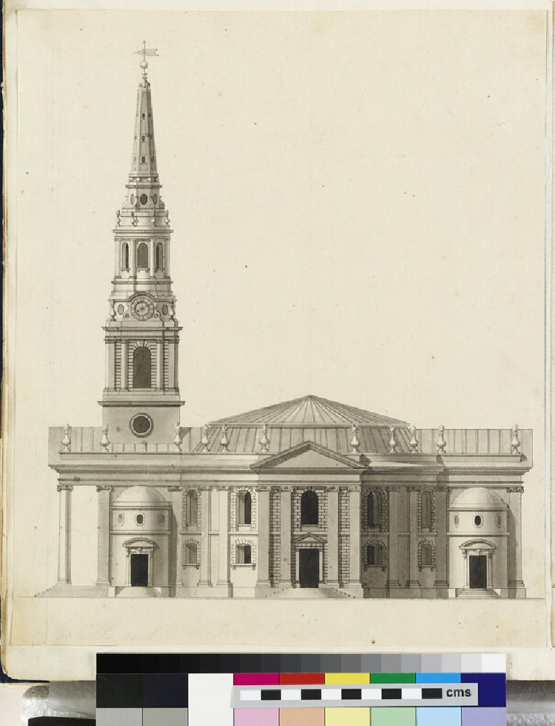 Design for the side upright of the 'First Round Draught' of St Martin in the Fields, London (WA1925.340.29)