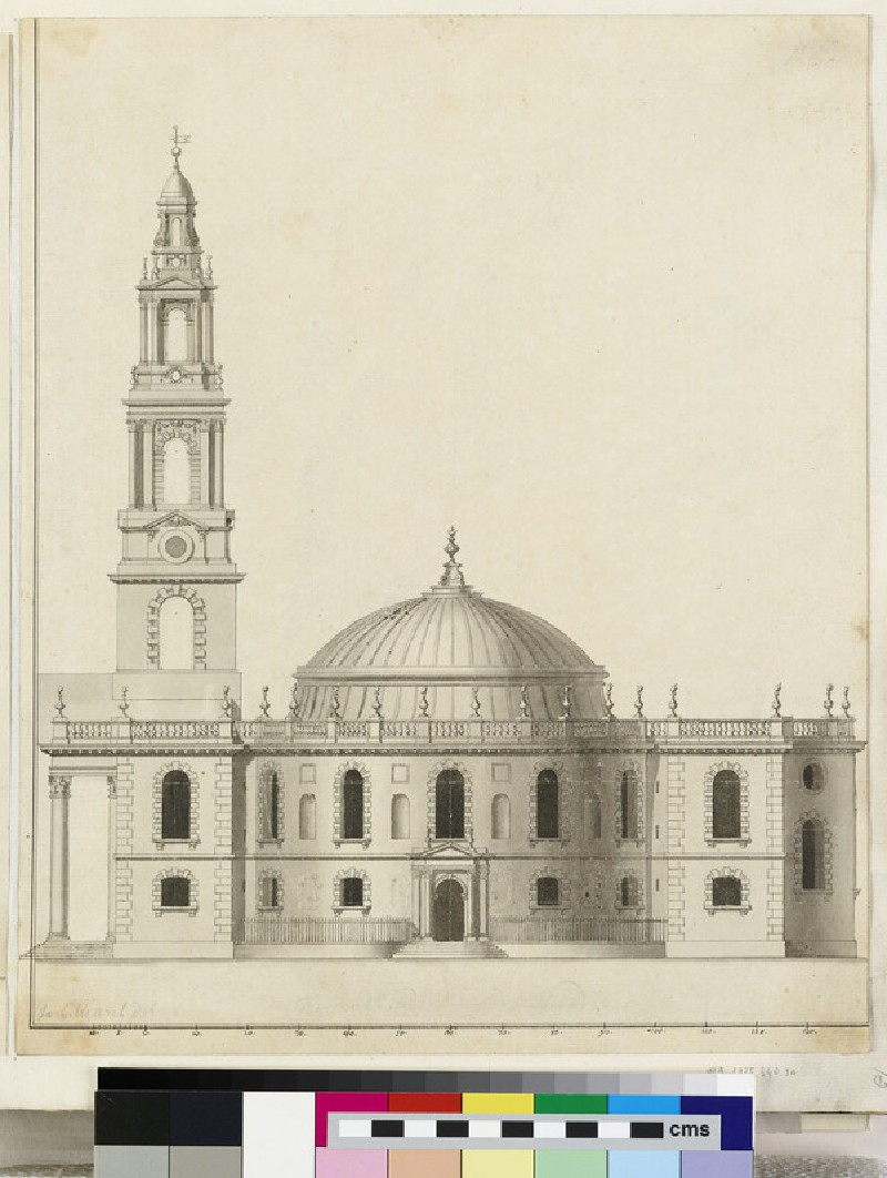 Design for the side elevation of the 'Round Draught being of the Ionick Order', of St Martin-in-the-Fields, London