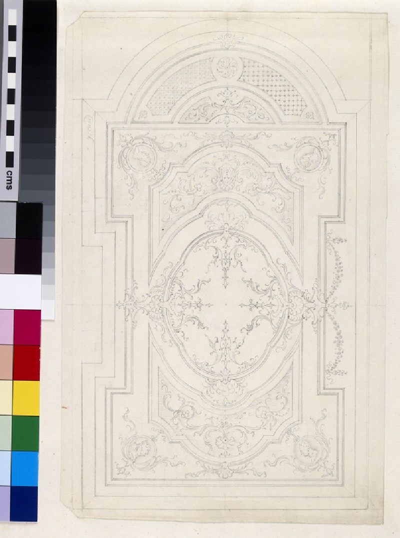 Design for the coffered ceiling and plan of the Senate House at Cambridge