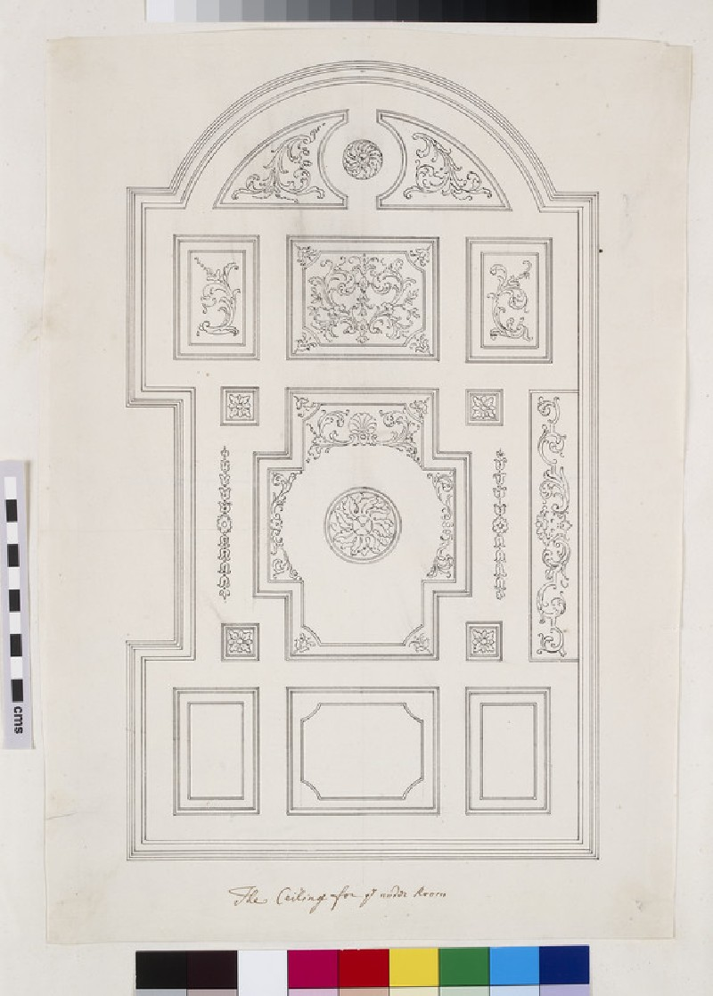 Drawing for the coffered ceiling and coffers under the gallery of the Senate House at Cambridge (WA1925.341.105)