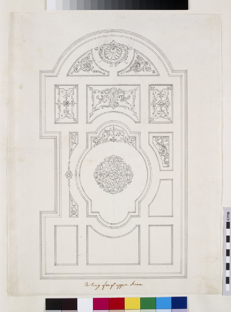 Design for the section and plan with the design of the ceiling of the Court Room block at St Bartholomew's Hospital, Smithfield, London (WA1925.341.106)