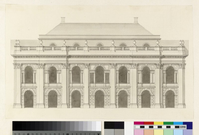Design for the façade of the side of a monumental building