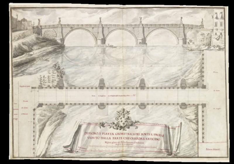 Rendering of the 'Disegno, e pianta geometrica del Ponte S. Angelo veduto dalla parte che guarda il Vaticano'
