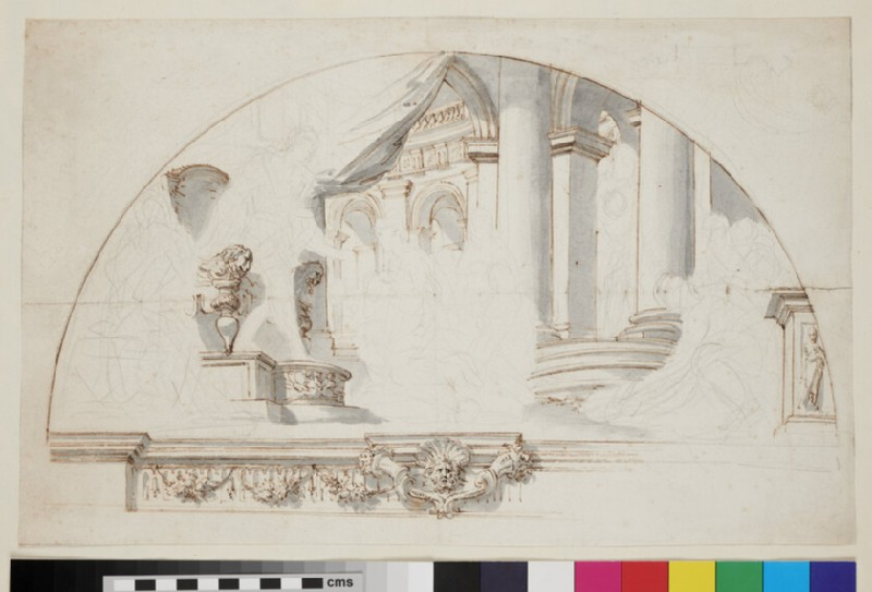Sketch of the architectural elements and part of the frame of a painting of a lunette