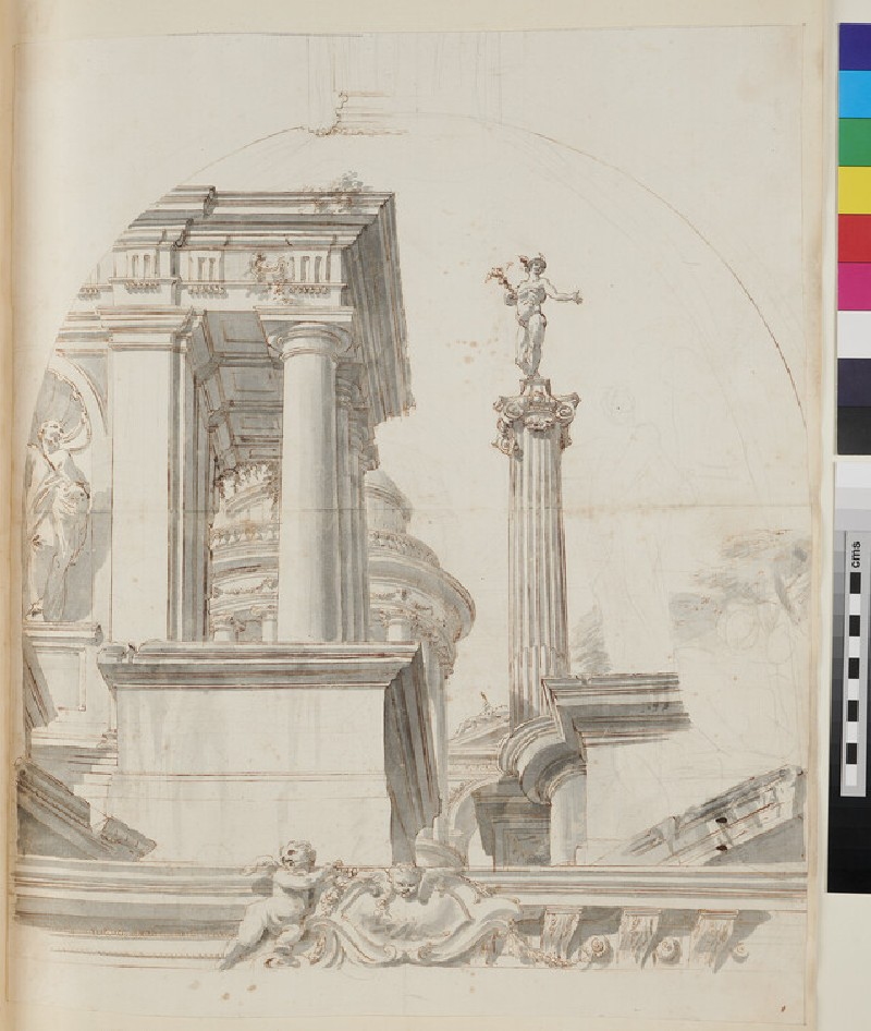 Sketch of the architectural elements and part of the frame of a painting of the end of a vaulted room (recto)