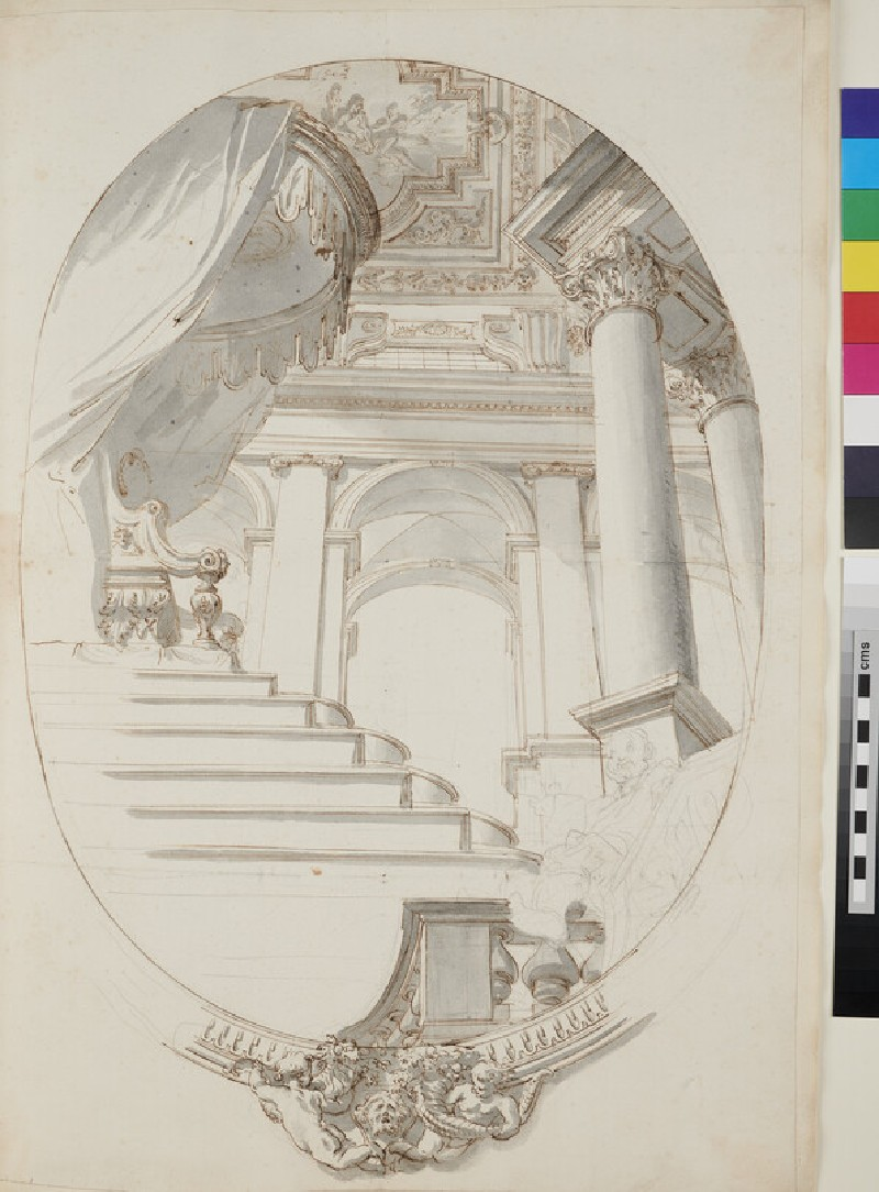 Sketch of the architectural elements and part of the frame of an oval ceiling painting (WA1925.342.14, verso)