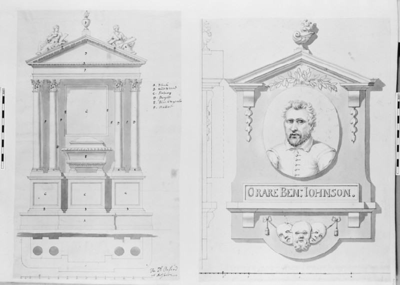 Design for the monument to Ben Jonson in Westminster Abbey