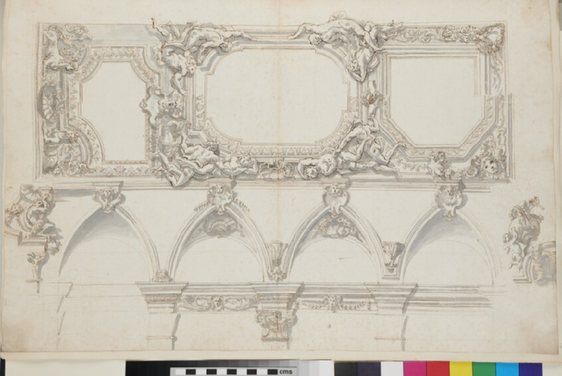Sketch of the decorations of the pilasters and cornice of the side wall, the cove with lunettes, and elaborate ceiling of a monumental room (WA1925.342.15, recto)