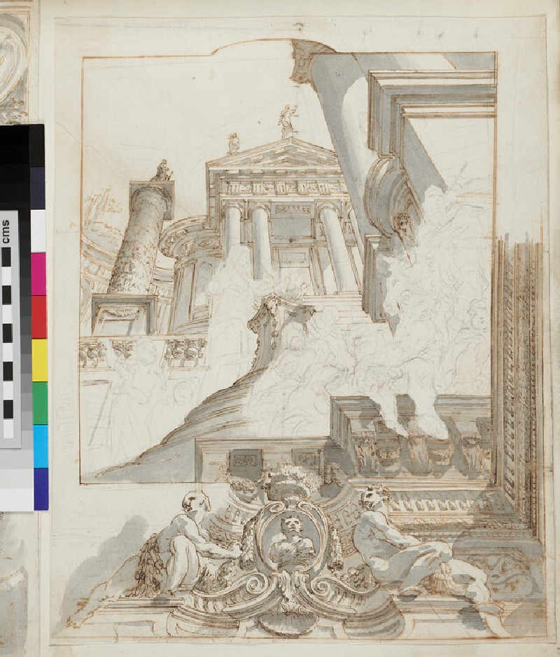 Sketch of the architectural elements and part of the frame of a square ceiling painting