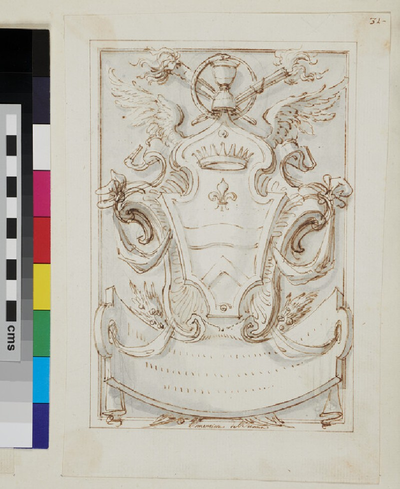 Design of the arms of a noble family (WA1925.342.161, recto)