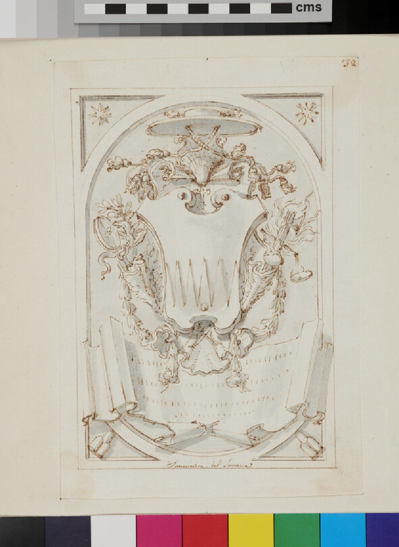 Design of the arms of Thomas Ruffo (recto)