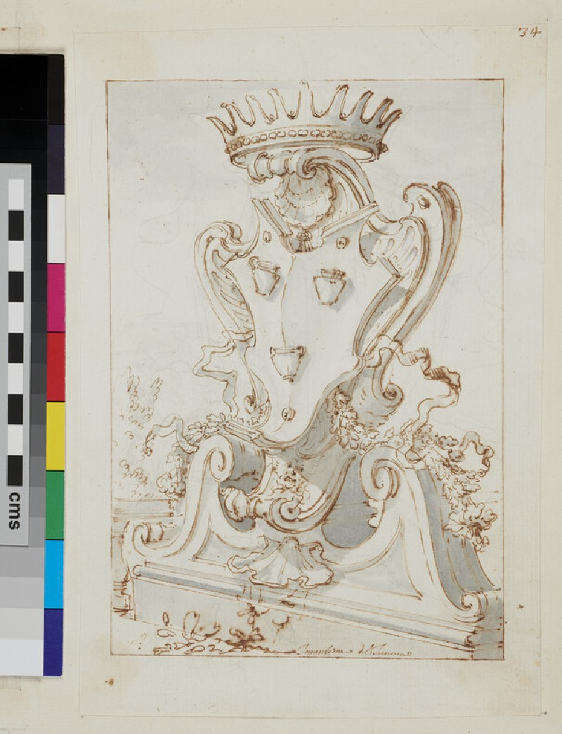Design of the arms of the Pignatelli family (WA1925.342.164, verso)