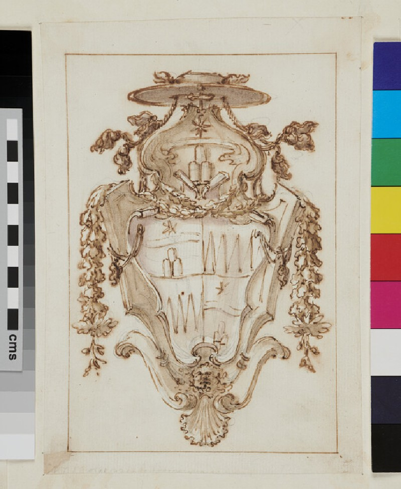 Design of the arms of Thomas Ruffo quartering the arms of Clement XI of the Albani family
