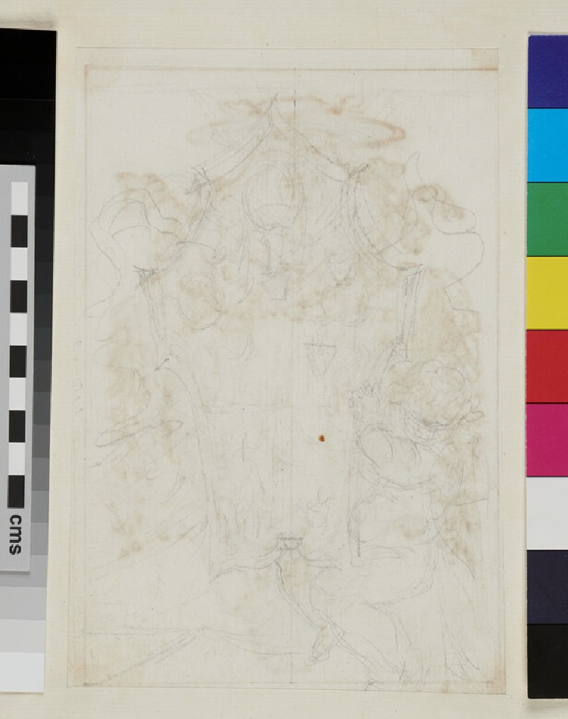 Design of the arms of Thomas Ruffo quartering the arms of Clement XI of the Albani family (WA1925.342.165, recto)