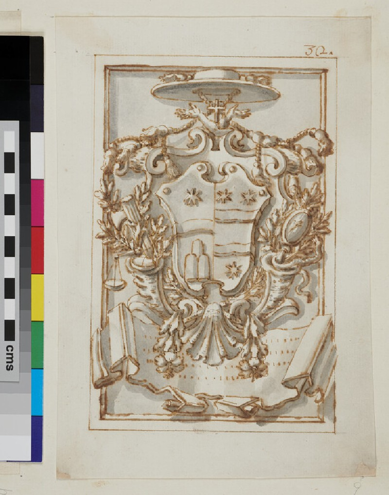 Design of the arms of Francesco Maria Cosini of Arezzo with the arms of Clement XI (WA1925.342.167, verso)