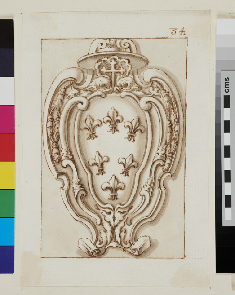 Design of the arms of the Farnese family (recto)