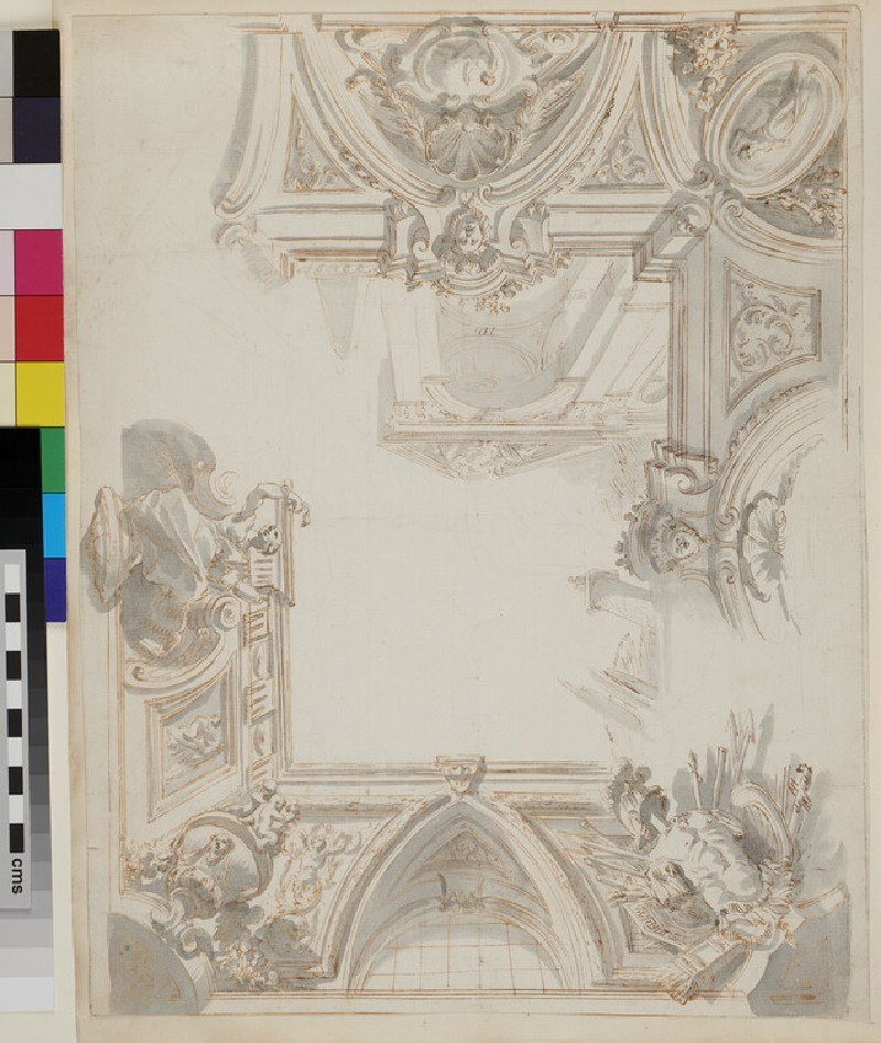 Sketch of the architectural elements and most of the large painted cornice (verso)