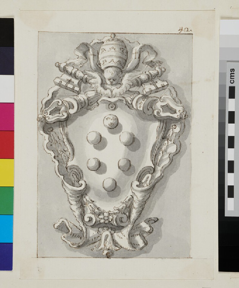 Design of the arms of Pope Leo XI, Alessandro di Ottaviano de' Medici (recto)