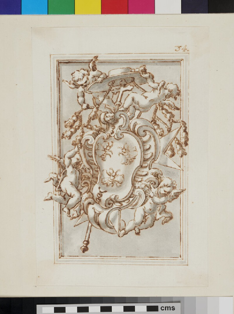 Design of the arms of a Cardinal of the Barberini family (WA1925.342.172, recto)