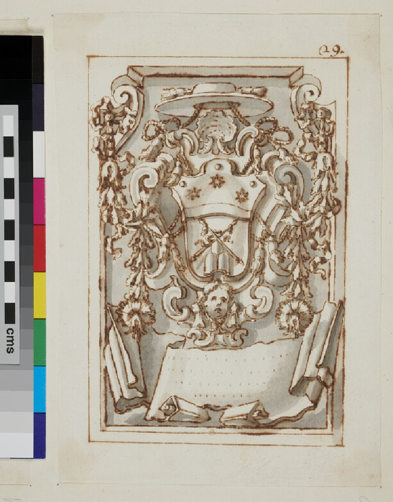 Design of the arms of an unidentified Cardinal (WA1925.342.173, verso)