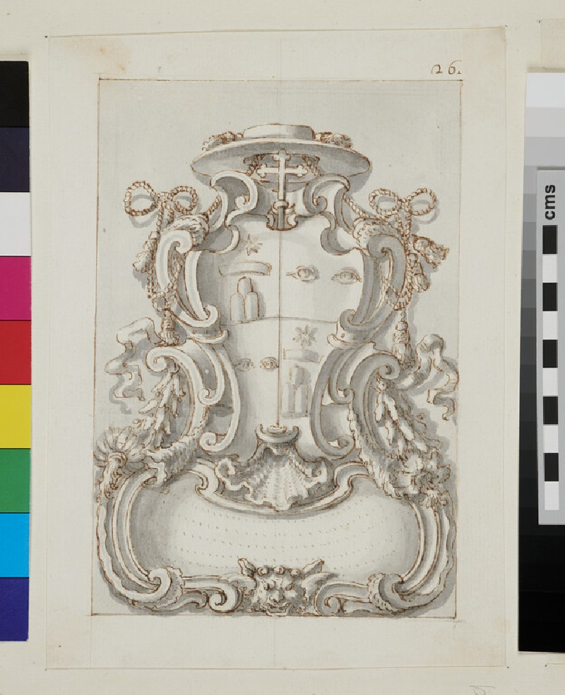 Design of the arms of Giovanni Battista Bussi of Viterbo, quarted with the arms of Clement XI (recto)
