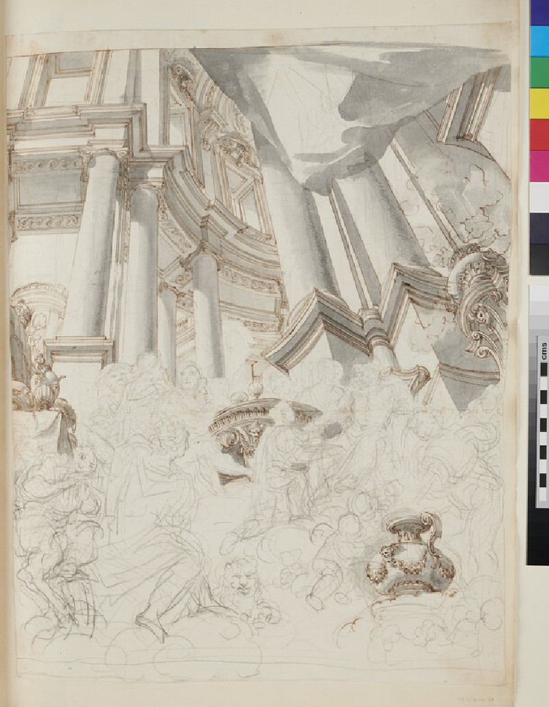 Sketch of the architectural elements of a large painting (verso)
