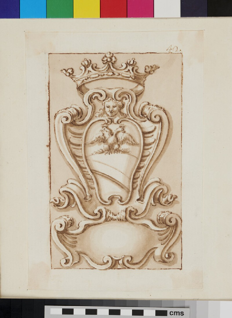 Design of the arms of a Marquess of the Ottoboni family (WA1925.342.181, recto)