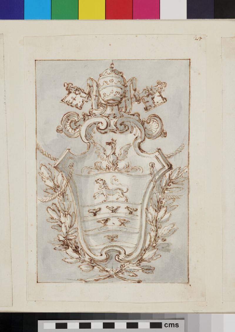 Design of the arms of Pope Innocent XI, Benedetto Odescalchi (recto)