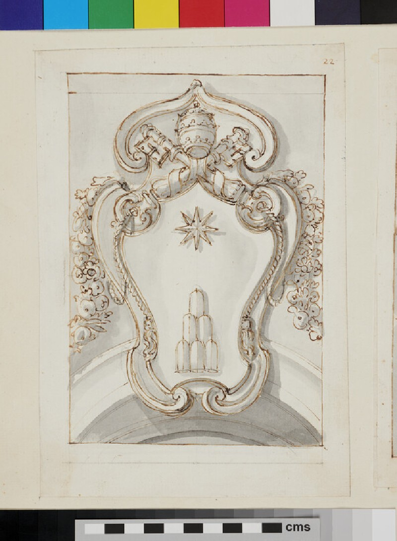 Recto: design of the arms of Pope Clement XI, Giovanni Francesco Albani  Verso: geometrical figure with measuraments
