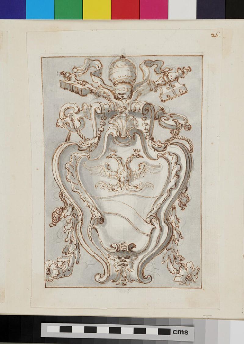 Design of the arms of Pope Alexander VIII, Pietro Vito Ottoboni (recto)
