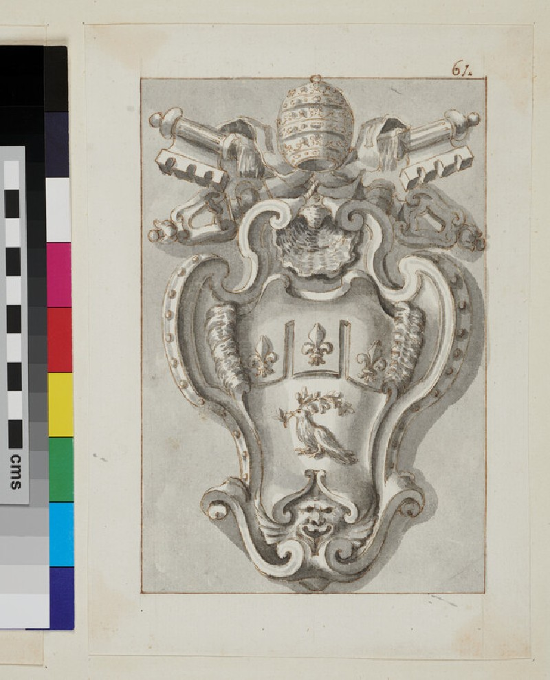 Design of the arms of Pope Innocent X, Giovanni Battista Pamphilj (recto)