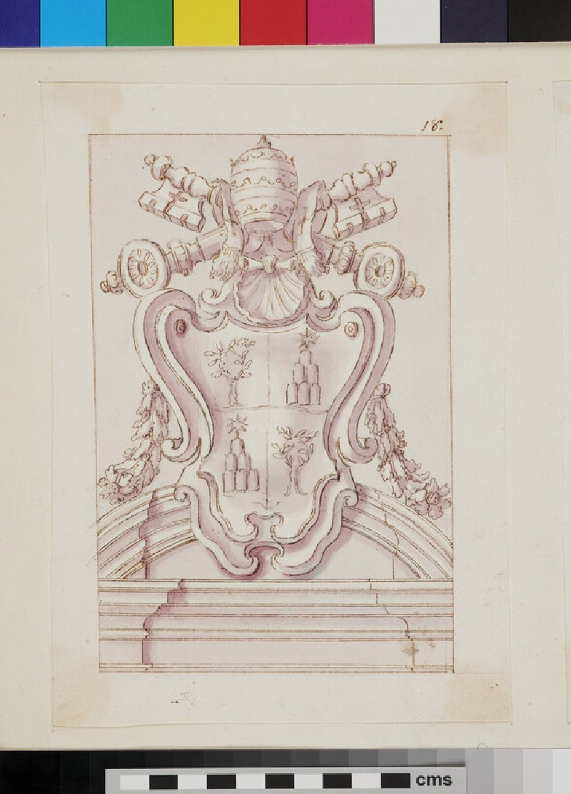 Design of the arms of Pope Alexander VII, Fabio Chigi (WA1925.342.193, verso)