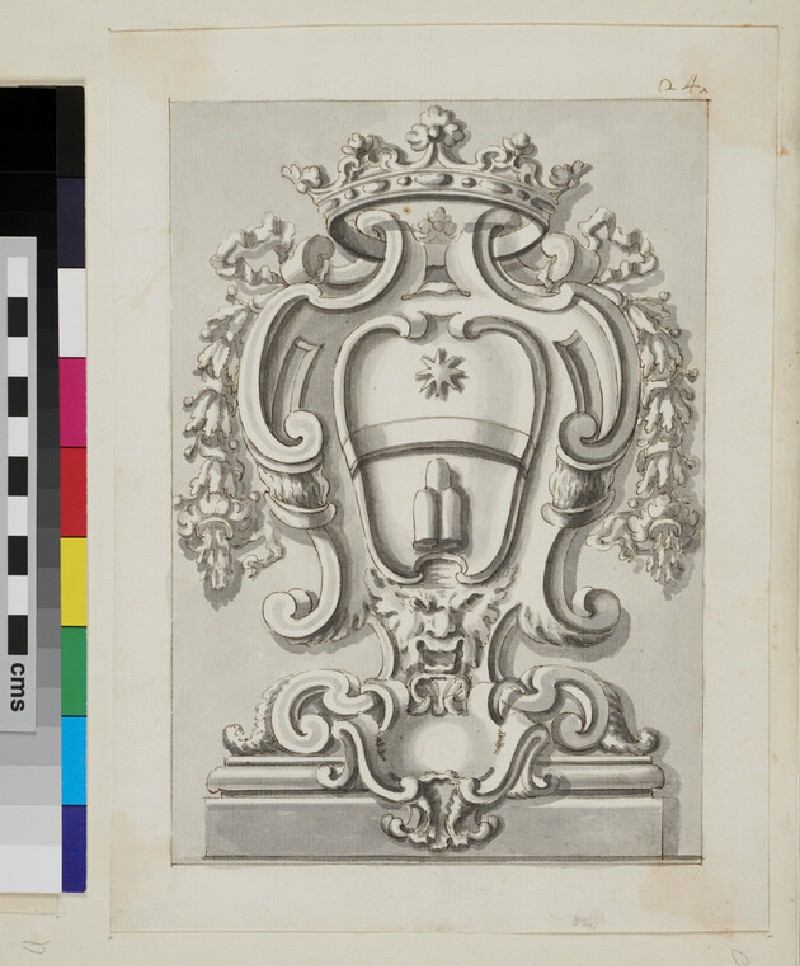 Design of the arms of the Albani family (WA1925.342.194, verso)