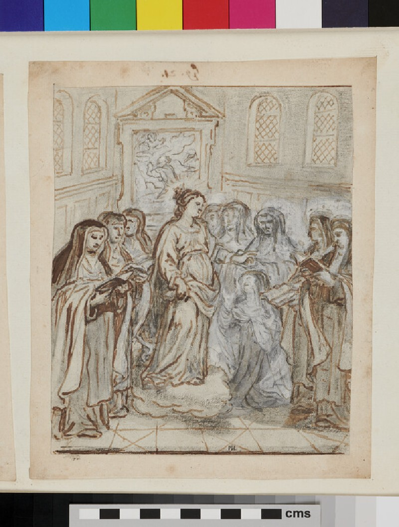 Stories of St Catherine of Siena: a group of Dominican nuns comtemplating a female saint (recto)