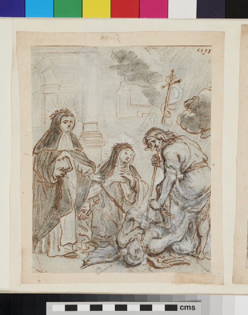 Stories of St Catherine of Siena: St Catherine kneeling to Jesus Christ, with a group of saints including St Peter Martyr