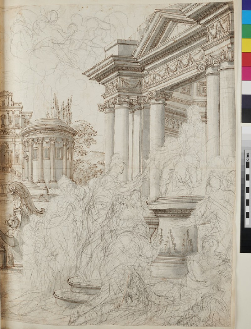 Sketch of the architectural elements of a large painting (WA1925.342.20, verso)