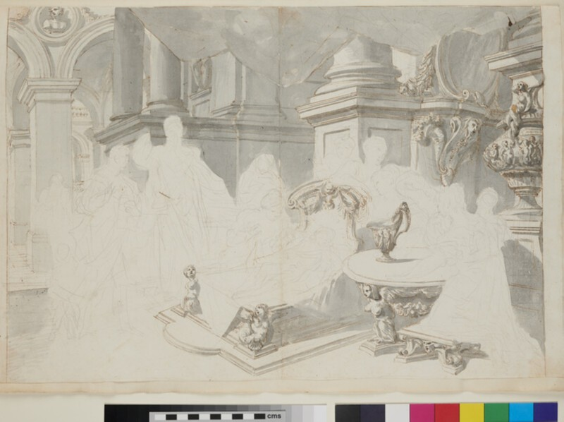 Sketch of the architectural elements of a monumental painting (WA1925.342.22, recto)