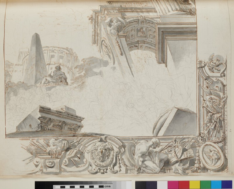 Sketch of the architectural elements and part of the frame of a ceiling painting (recto)