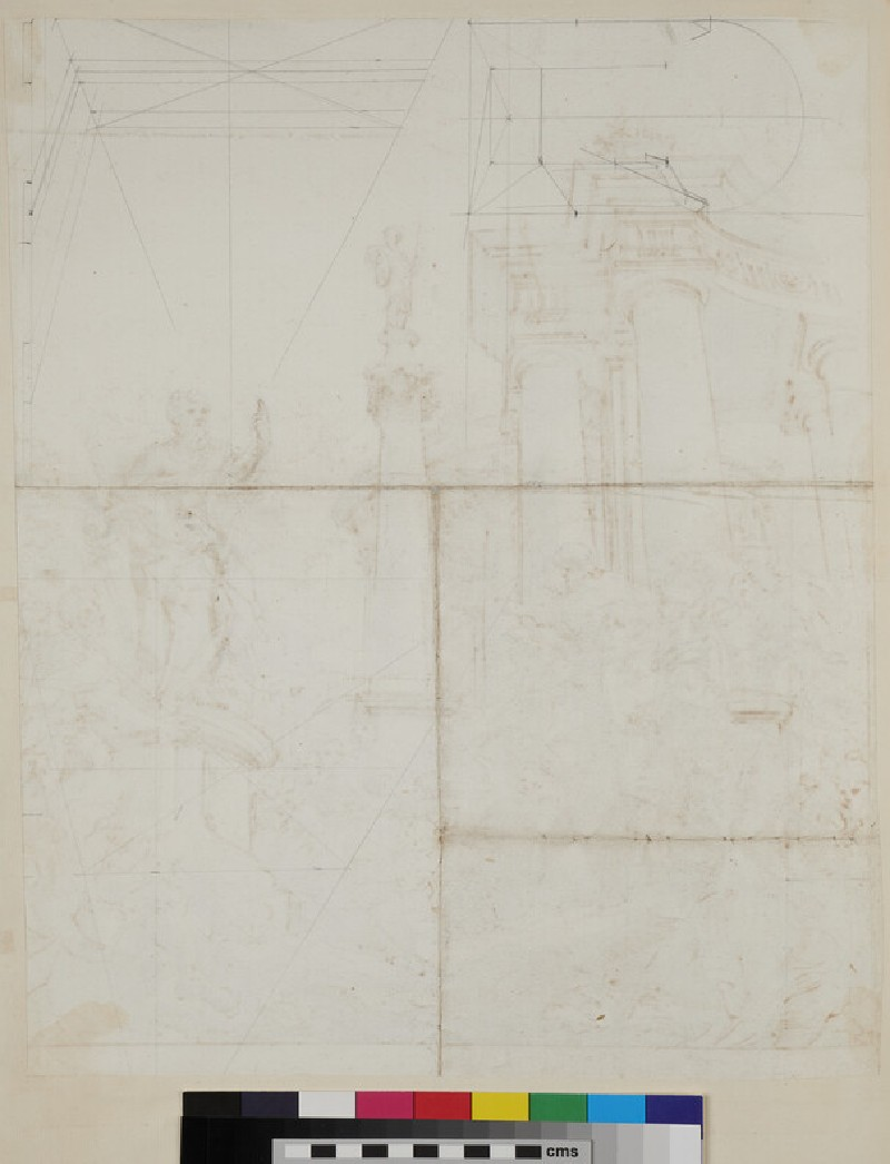 Sketch of the architectural elements and figures of a painting at the end of a vaulted room