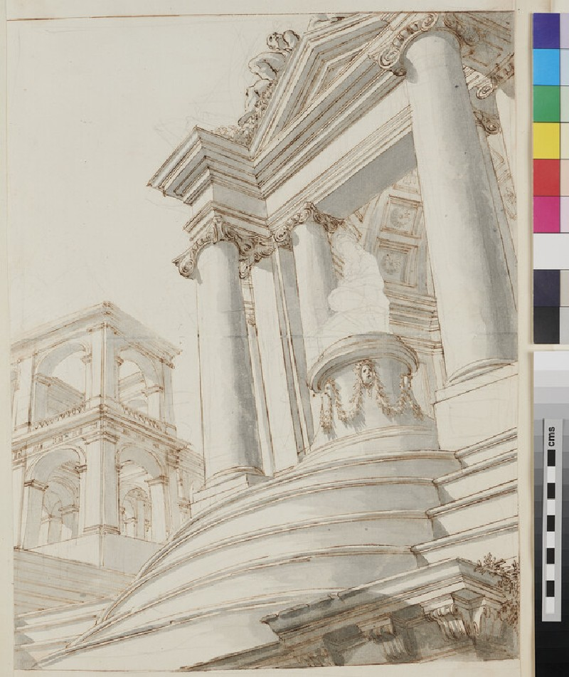 Sketch of the architectural elements of a monumental painting (verso)