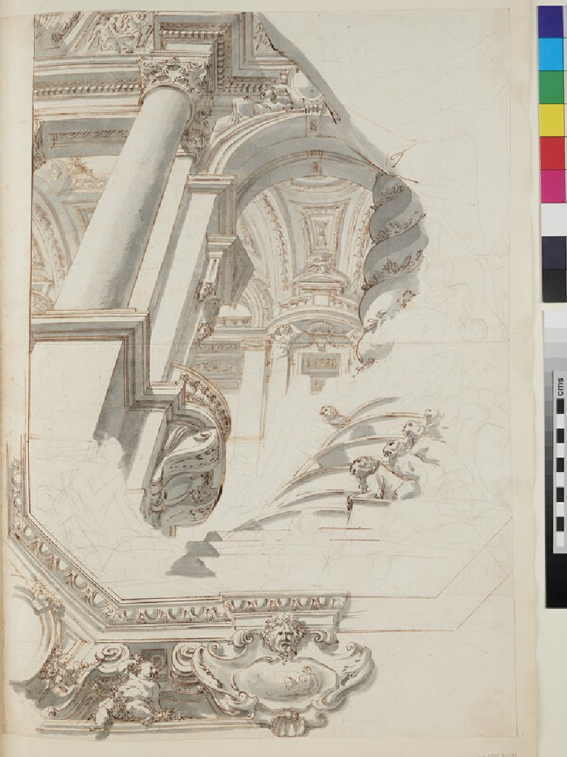 Sketch of the architectural elements and part of the frame of a monumental ceiling painting