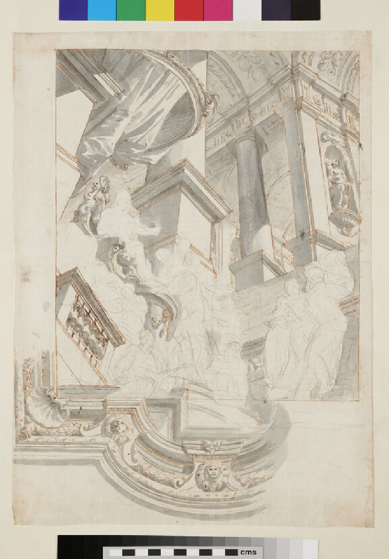 Sketch of the architectural elements and part of the frame of a monumental ceiling painting (recto)
