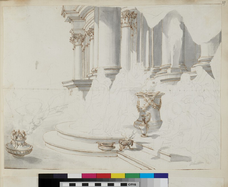 Sketch of the architectural elements of a monumental picture (WA1925.342.29, verso)